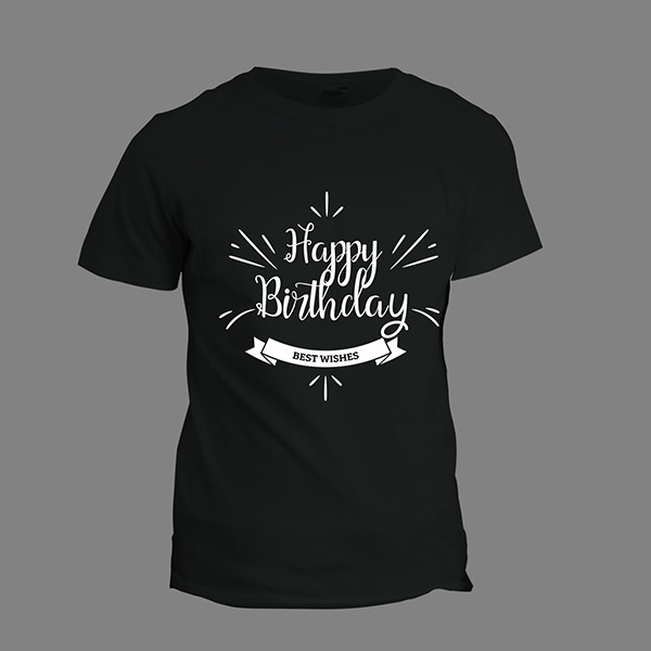 Happy Birthday T Shirt Black